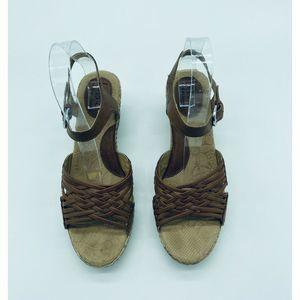 boc Shoes - BOC 8 Wedge Heels Brown Buckle Adjustable Strappy